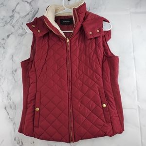 Active USA Hoodie Faux Fur Lined Quilted Vest